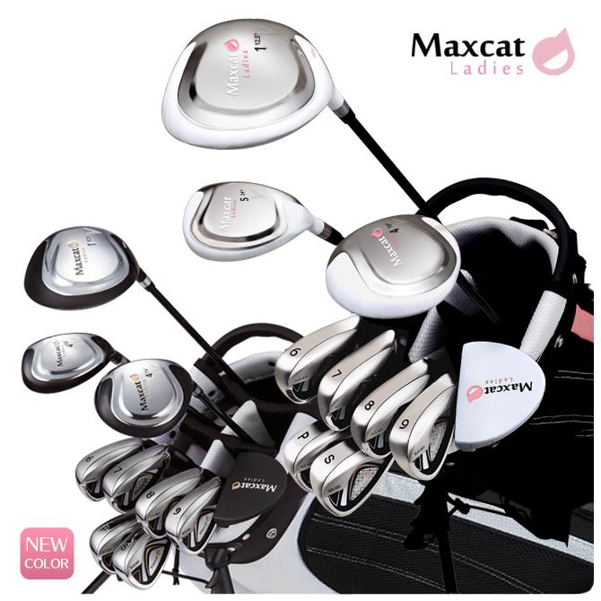 ゴルフ レディス レディース クラブフルセット 黒 白 マックスキャット MAXCAT ゴルフセット クラブセット フルセット フレックスL あす楽対応