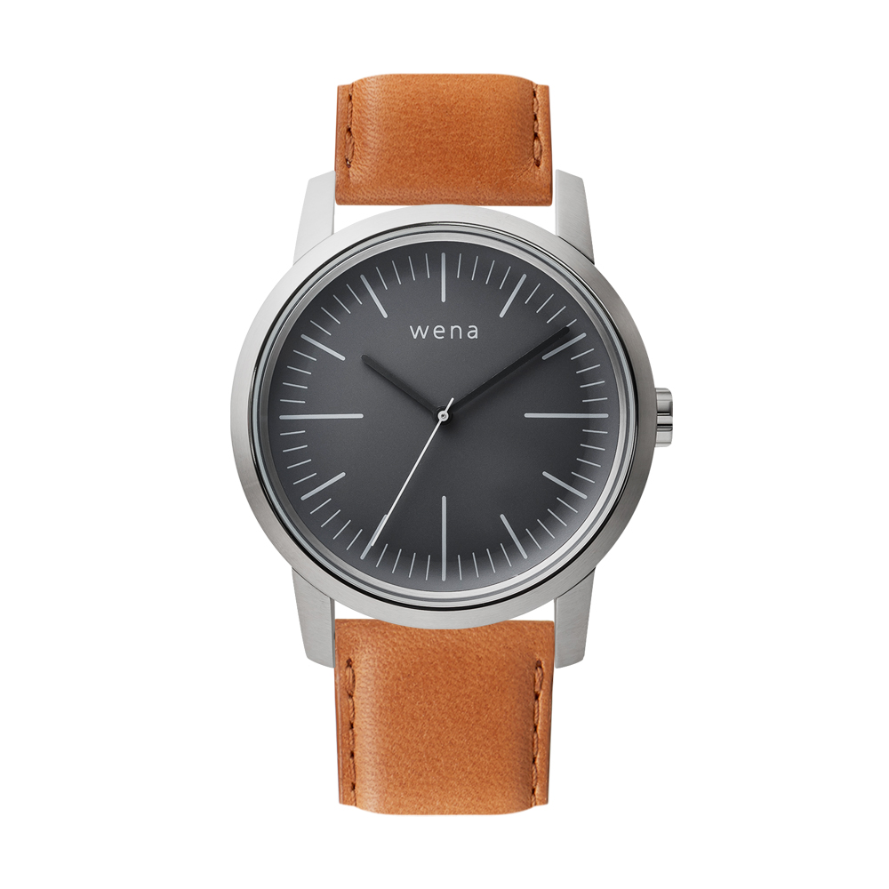 Three Hands Silver + wena wrist leather 22mm Tawny Brown
