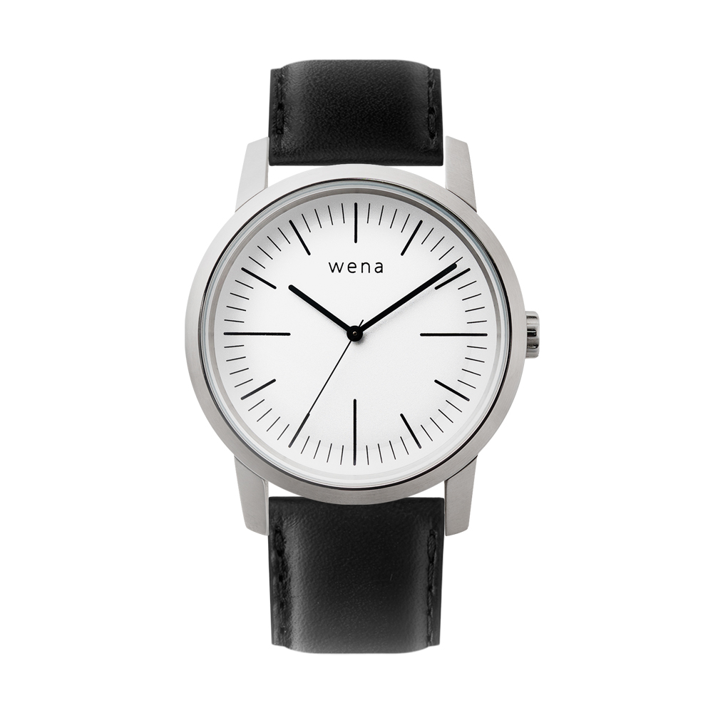 Three Hands White + wena wrist leather 22mm Black
