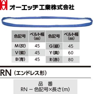 OH(オーエッチ工業) 吊具 ベルトスリング RN-V-6.0 アピックスRN(エンドレス形) 紫 最大使用荷重:1,000kg 長さ:6.0m [受注生産品]