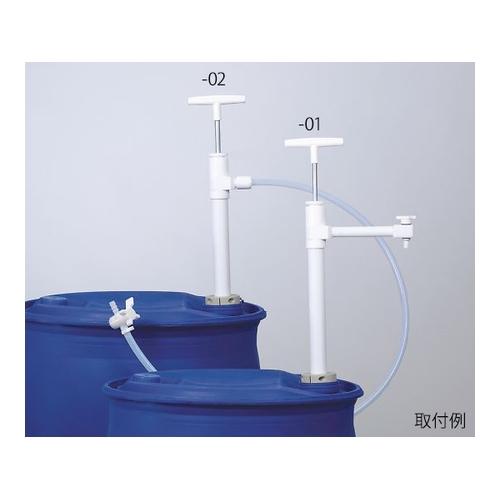 アズワン PTFEバレルポンプ(ストップコック付) 780mm 吐出部チューブ仕様 1個 [3-8181-01]