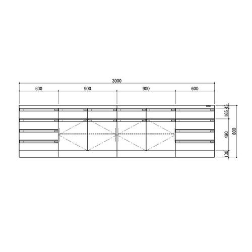 アズワン サイド実験台 ホワイト・木製タイプ 3000×750×800 1台 [3-1280-13] [個人宅配送不可][送料別途お見積り]