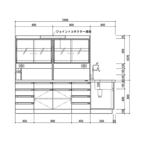 アズワン 中央実験台 木製ホワイトタイプ・ケコミ型・側面流し台・試薬棚付き 2400×1500×800/1870 1台 [3-3872-02] [個人宅配送不可][送料別途お見積り]