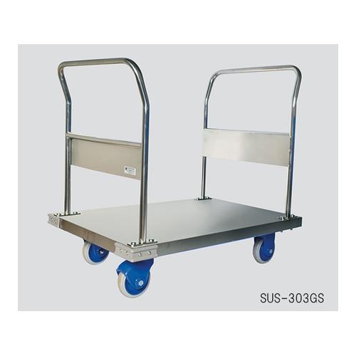 アズワン 静音ステンレス台車 両ハンドル ブレーキあり 積載荷重300kg 1個 [3-4799-08]