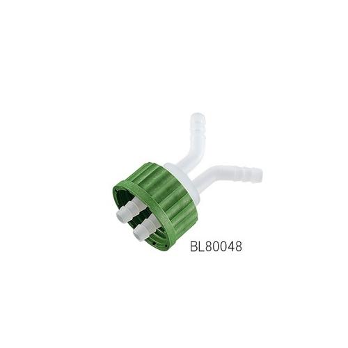 アズワン ねじ口瓶用キャップ(軟質チューブ用・GL45用)2ポート 接続チューブ内径8~10mm 1個 [1-7395-03]