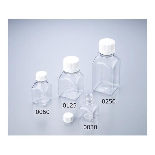 アズワン 角型培地瓶(PETG製・滅菌済) 60mL 24本×4入 1箱(24本×4トレイ入り) [1-1500-12]