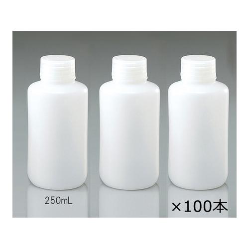アズワン 細口瓶 HDPE製 250mL 100本(ケース販売) 1箱(100本入り) [1-4657-74]