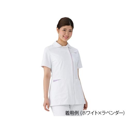 アズワン レディスジャケット ホワイト×ラベンダー S 072-24 1枚 [7-4657-01]