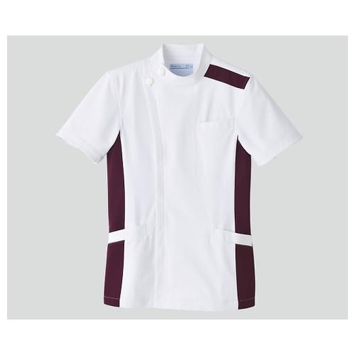 アズワン メンズジャケット半袖 ホワイト×プラム 5L 094-25 1枚 [8-6855-07]