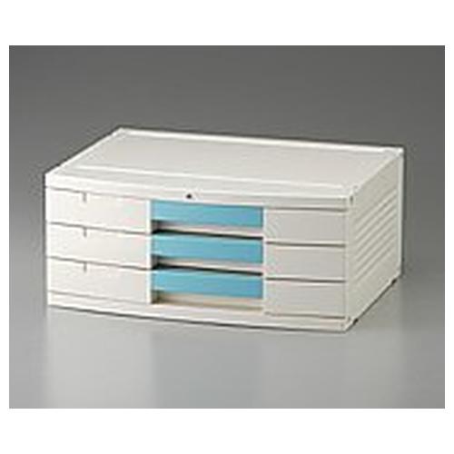 アズワン トレイBOX(鍵付) A3用ブルー 470×360×205mm 306H 1個 [0-5347-08]
