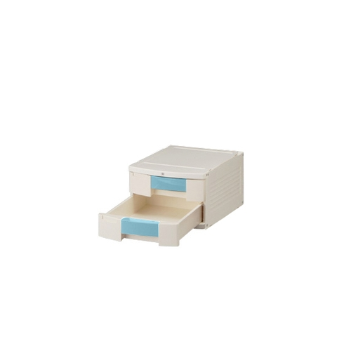 アズワン トレイBOX(鍵付) A4用ブルー 290×360×205mm 402H 1個 [0-5347-13]
