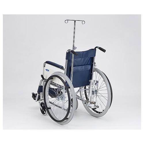 アズワン 車椅子 (自走式/スチール製/ノーパンクタイヤ/ボンベ架・伸縮式ガードル棒付き) AND-1H-BSG 1台 [8-4968-04]
