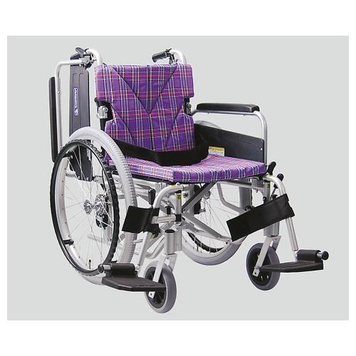 アズワン 車椅子(アルミ製) スイングアウト・イン 紫チェック NKA822-40B-M A11 1個 [8-6722-02]