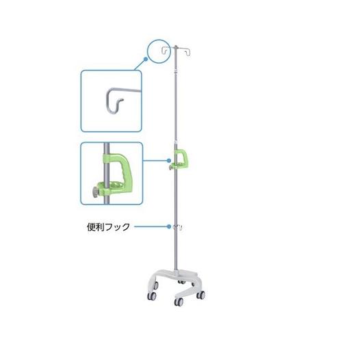 アズワン 点滴スタンド(便利フック付き) グリーン RTS-U302 GN 1個 [8-6900-01]