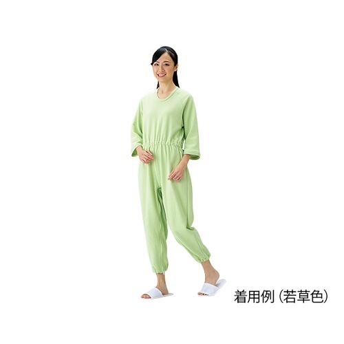 アズワン 介護寝巻 (つなぎタイプ) 若草色/L 1枚 [0-3872-04]