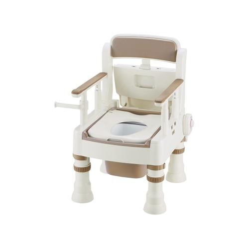 アズワン ポータブルトイレ (きらく) (暖房便座/490×530×750~870mm) アイボリー MH型 1台 [8-4349-03]