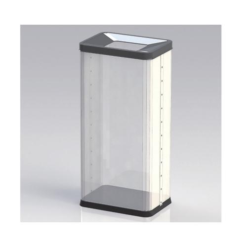 アズワン 中身の見えるゴミ箱 角型(袋止め付き) 28.6L OSM-P-01B 1個 [8-8249-03]