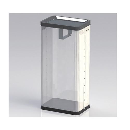 アズワン 中身の見えるゴミ箱 角型ロータリー(袋止め付き) 22L RSM-P-01B 1個 [8-8249-04]