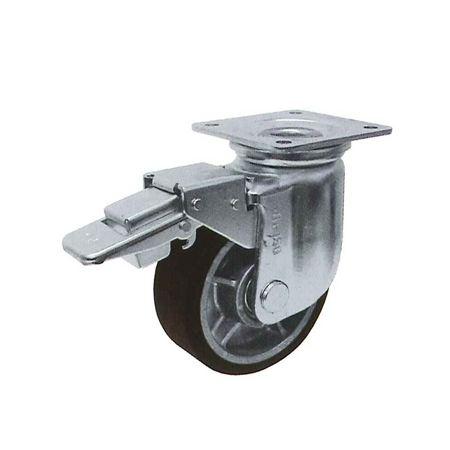ヨドノ RRJMB-200 プレス製自在金具付重荷重用車輪ブレーキ付(MCナイロン)