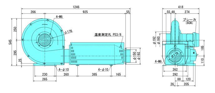 西村电机HU-500E 3相200V電熱俳風機(50/60Hz选择)  [发送限制商品]