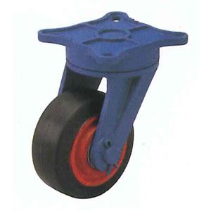 末廣車輌(スエヒロ) LBLR型 ダクタイル金具付 ゴム車輪キャスター 自由車ベアリング付 車輪250mm
