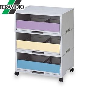 テラモト エコペーパーソートII 3色カラー A-3 深型 3段 DS-187-303-0 [個人宅配送不可商品]