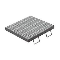 カネソウ スチール製グレーチング T14-QXC-4432 (本体のみ) ※受枠別売り 515×515×32 細目ノンスリップ 正方形型 集水桝用