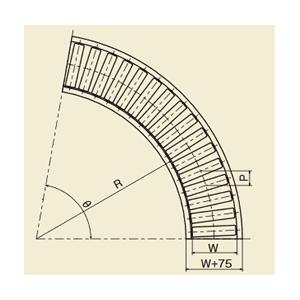 メイキコウ φ57スチール製ローラコンベヤ 中荷重用 90°カーブ 高強度型 FMC57R-VC-W300-P100-R900-A90 ローラ幅300×ピッチ100×カーブ内径900  [送料別途お見積り]