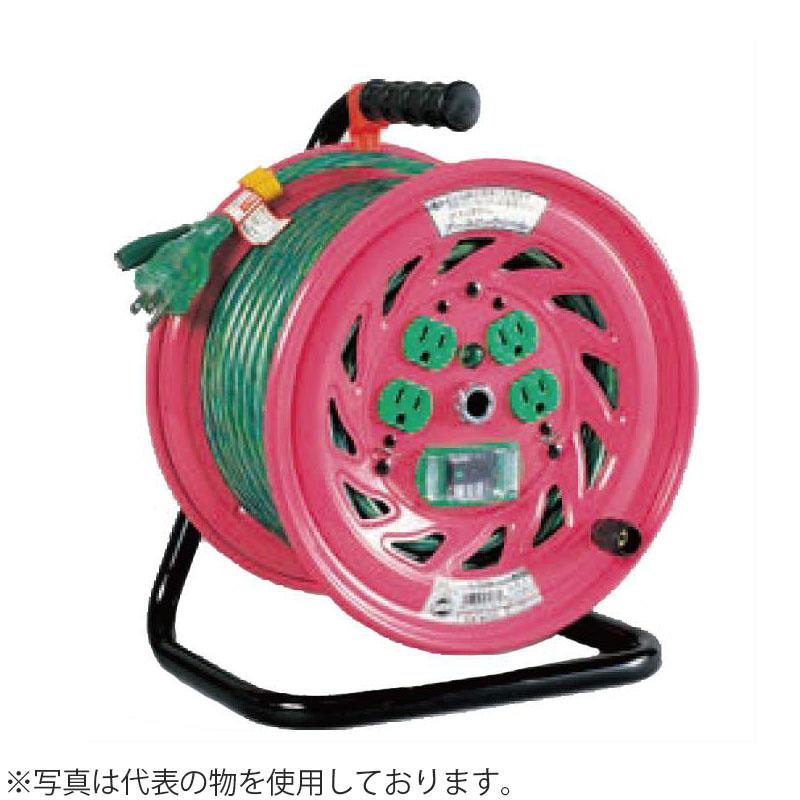 日動工業 30mコードリール 100Vアースロックリール(屋内用) GL-EK34 アース付(過負荷漏電保護兼用) コンセント:4口