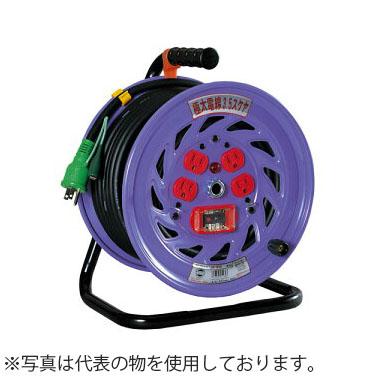 日動工業 30mコードリール 100V極太電線仕様ドラム(屋内用) ND-EB34F アース付(漏電保護専用) コンセント:4口