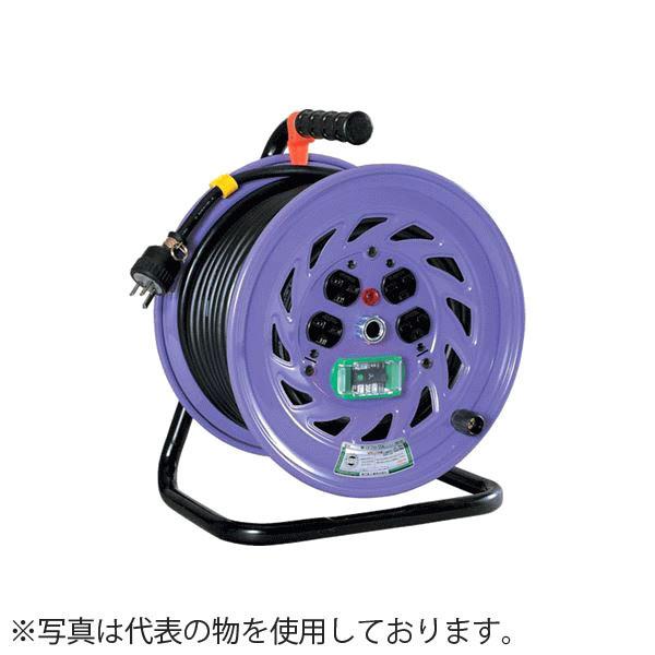 日動工業 20mコードリール 単相200V標準型ドラム(屋内用)防災型 ND-EK220FPN-15A アース付(過負荷漏電保護兼用) コンセント:4口