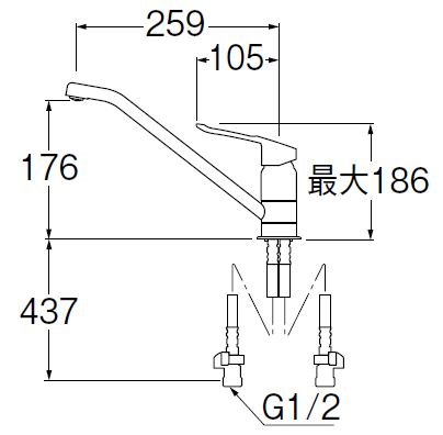 三栄水栓(SAN-EI) K87110ETJV-13 シングルワンホール混合栓|キッチン用 :SB0285