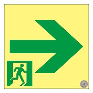 緑十字 高輝度蓄光通路誘導標識 ASN951 矢印 150mm角