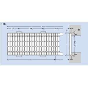 カネソウ スチール製グレーチング T20-HXB-16575-S (本体のみ) ※受枠別売り 650×995×75 ノンスリップ 側溝用 クロスバー