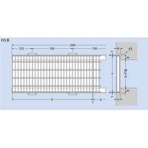 カネソウ スチール製グレーチング T2-HSB-16544-O (本体のみ) ※受枠別売り 650×995×44 プレーンタイプ 横断溝用