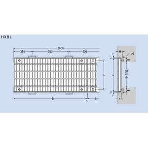 カネソウ スチール製グレーチング T25-HXBL-84055-E (本体のみ) ※受枠別売り P100×400×995×55 ノンスリップ ボルト固定式 横断溝用