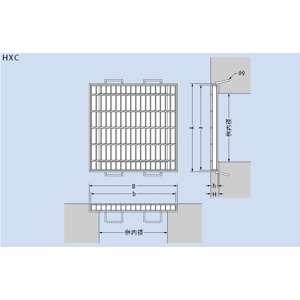 カネソウ スチール製グレーチング T25-HXC-4455 (本体のみ) ※受枠別売り P100×500×501×55 ノンスリップ 正方形型 集水桝用