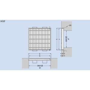 カネソウ スチール製グレーチング ノンスリップ 枠付110度開閉式 集水桝用 500×485×44 :T6-HXF-4544