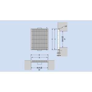 カネソウ スチール製グレーチング 細目プレーンタイプ 枠付110度開閉式 集水桝用 600×305×44 :T25-QSF-5344H