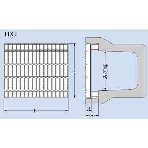 カネソウ スチール製グレーチング ノンスリップ かさあげ型 JIS型側溝用 620×501×60/125 :T14-HXJ-6260A