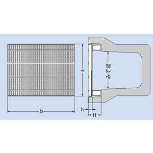 カネソウ スチール製グレーチング 細目ノンスリップ かさあげ型 JIS型側溝用 620×498×50/125 :T14-QXJ-6250A