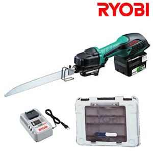 附带小型的Ryobi 14.4V充电式往复运动索BRJ-120电池塑料袋、充电器、盒子