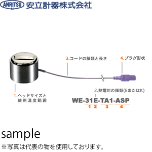 安立計器 WE-11K-TS1-ASP 一般静止表面用センサ 自重形・一般 ヘッドサイズ:φ20×34mmテフロンガード