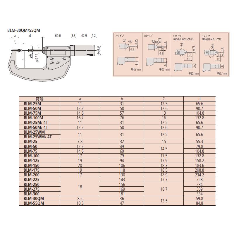 MITUTOYO(Mitutoyo)BLM-30QM(422-411)快速微直行式刀刃微测量仪器A型测量范围:0-30mm