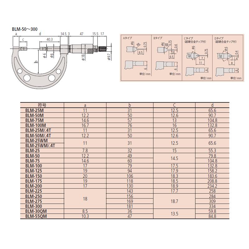 Mitutoyo BLM-100 analog linear blade micrometer measuring range: 75-100 mm