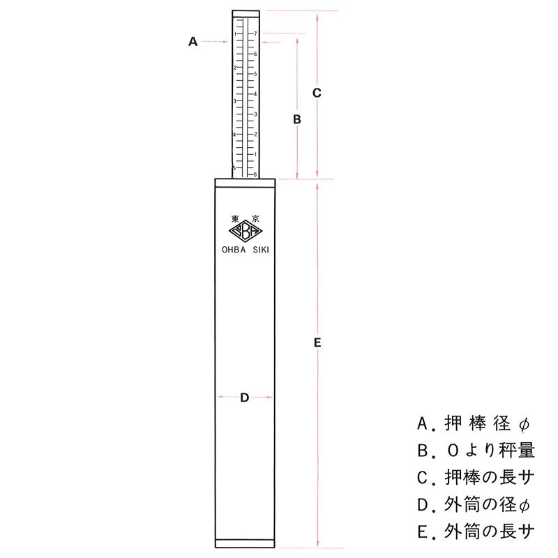 150N [代引��商�] 大場計器製作所 置�� 長力併用型棒状コンプレッションゲージ