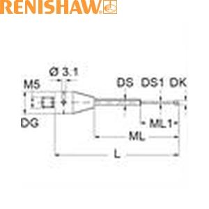 レニショー A-5555-1054 スタイラス ツァイス製プローブ用スタイラス ストレート M5 φ1mm ルビー球 超硬軸 長さ25mm ML15.0/5.0mm ツァイスアプリケーション用