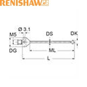 レニショー A-5555-3827 スタイラス ツァイス製プローブ用スタイラス ストレート M5 φ2.5mm ルビー球 超硬軸 長さ34mm ML25mm 長いネジ部 ツァイスアプリケーション用