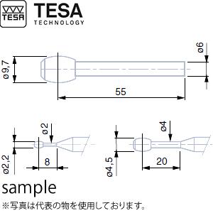 TESA(テサ) No.00760067 φ4.5mm樽型チップ付測定子(M6~M48用) BARREL-SHAPED PROBE TC 4.5mm
