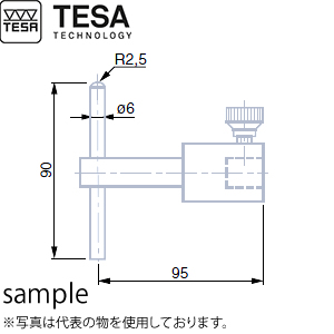 TESA(テサ) No.00760094 φ6mmピン付プローブ(超硬) PROBE WITH A STAINL. STEEL PIN